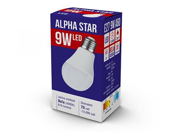Alpha Star (E27 9W) Led Sijalica, E27 -9W, 220V,Toplo Bela, 3000K