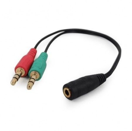 CCA-418 Gembird 3.5mm Headphone Mic Audio Y Splitter Cable Female to 2x3.5mm Male adapter