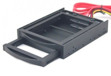 MR3-2SATA2.5-01 Gembird 3.5 mobile rack for two SATA 2.5 drives, black