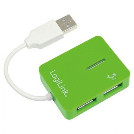 Logilink Adapter USB 2.0 na Hub 4-Port,Smile,Zeleni