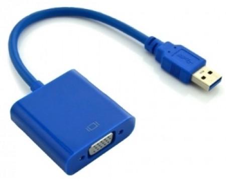 E-GREEN Adapter USB 3.0 tip (M) - VGA (F) plavi
