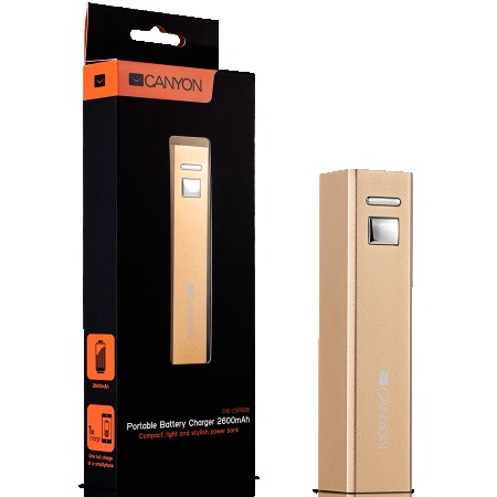 CANYON CNE-CSPB26GO Aluminium compact battery charger. Color: golden, Capacity: 2600mAh, Output: DC5V 1A, Input: DC5V 1A Output Charging: 1
