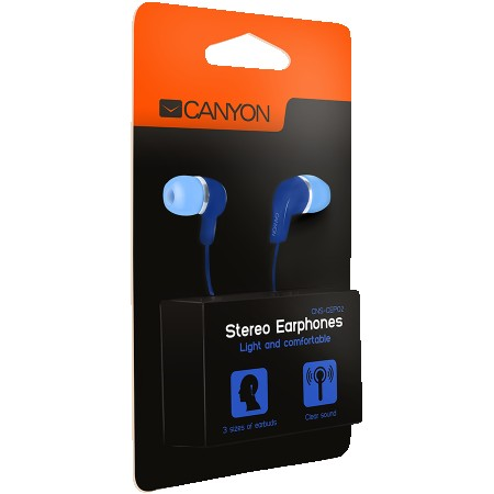 CANYON Stereo Earphones with inline microphone, Blue (CNS-CEPM02BL)