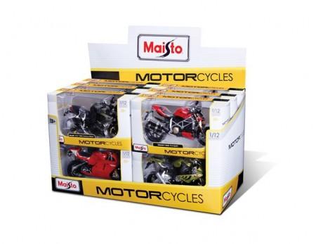 Motocikl 1:12 - replika stvarnog modela s realističnim detaljima. Razni modeli. 12 komada u displayu. Uzrast 3+.