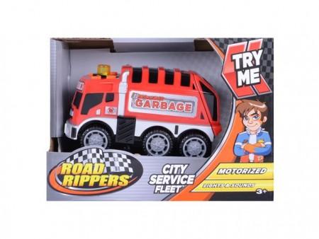 Plastični kamiončić Rippers City Service Fleet dužine 11 cm. Mini plastični kamiončići za gradske službe. Mogu ići naprijed i natrag. Zabav