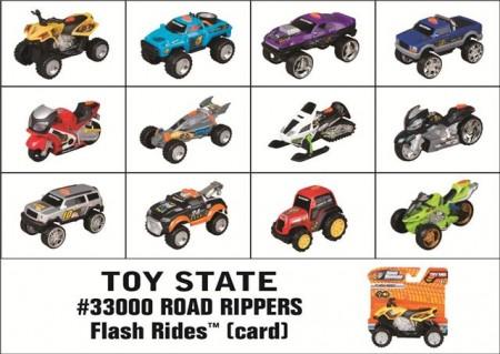 Plastični autić Road Rippers Flash Rides dužine 8 cm. 12 različitih modela. Nije moguće birati model. Try me pakovanje. Potrebne 2 dugmaste