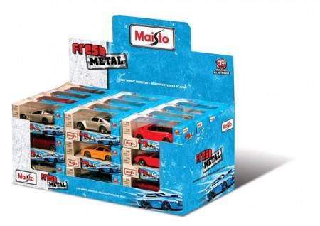 Metalni autić s plastičnim delovima, dužina cca 7 cm. Razni modeli. 36 komada u displayu. Uzrast 3+.