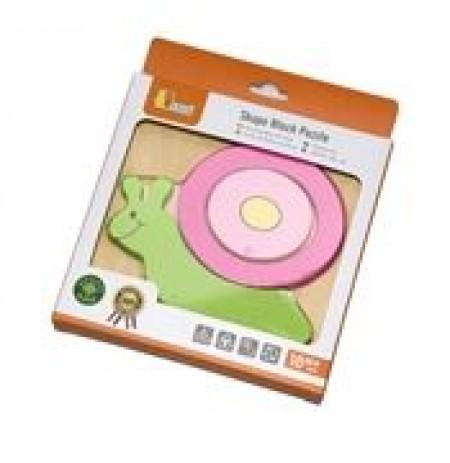 Drvene puzzle od 3 dela. Ĺ˝ive boje, zaobljene ivice za najmlađu decu, savršeni za male ručice. Sjajne za učenje boja i oblika, pomažu razv