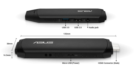 ASUS VivoStick TS10-B004D Intel Atom Z8300 Quad Core 1.44GHz (1.84GHz) 2GB 32GB Windows 10 Home 64bit