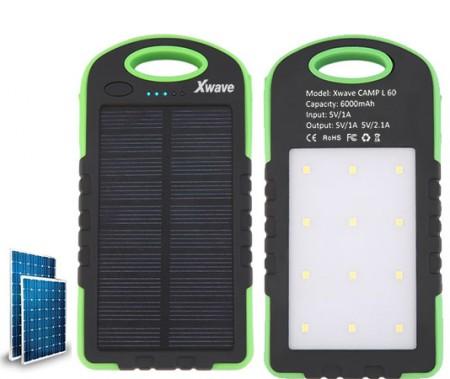 Xwave (Camp L 60 green) Dodatna baterija 6000mAh1A + 2.1A dual USB solarni punjac