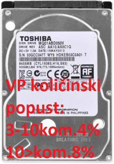 TOSHIBA (MQ01ABD050V) HDD 2.5 SATA III 500GB 5400RPM 8MB 7mm