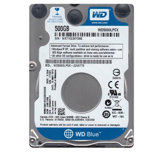 WD Blue 500GB, 2.5, 5400rpm, SATA III, 8MB, (WD5000LPCX)
