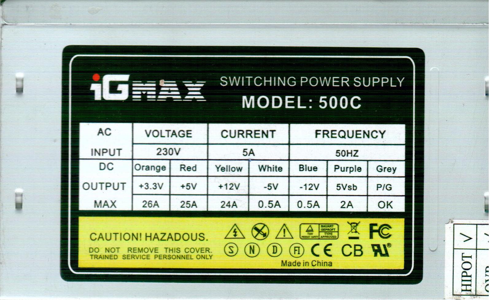 IG-MAX 500C 500W napajanje